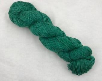 Hand Dyed Sock Yarn - 80/10/10 Superwash Merino Cashmere Nylon - 375 yds - Emerald