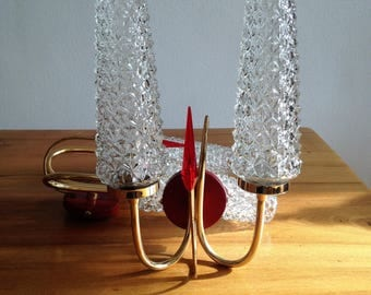 Pair of double base and red hand - glass and brass - 1960