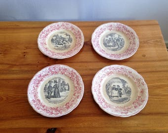 4 plates fine China - La Velocipedomanie - Creil et Montereau - France