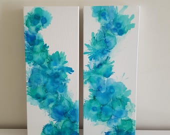 ON SALE Sea Bloom - original ink painting diptych