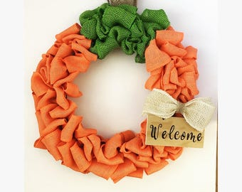 Fall pumpkin Wreath, burlap wreath, welcome sign, front door Wreath, door hanger, pumpkin Wreath, fall decor, Halloween decor, pumpkin, fall