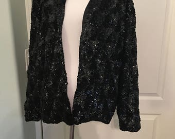 Black sequin jacket | Etsy