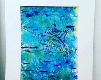 Colorful Fish Art-Sailfish Silhouette- Florida Keys Art-Original Artwork by MJ- Acrylic on watercolor paper
