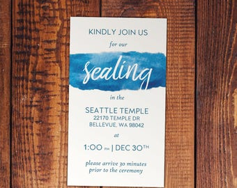 Watercolor Temple Sealing Invitation - Customizable colors and wording