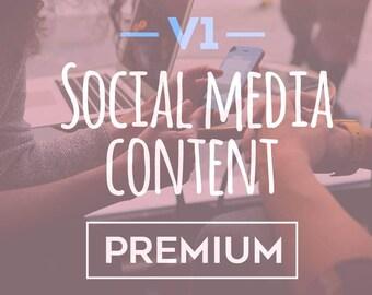 Version one  social media content premium package social media optimisation digital marketing social media planner social media copy