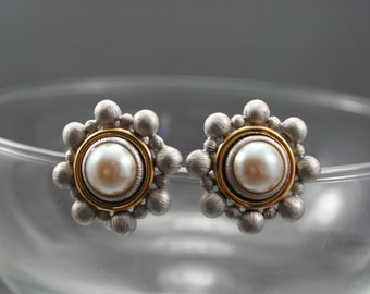Pearl Earrings, Silver Bead Earrings, Stud Earrings, Vintage Wedding, Flower Earrings, Star Earrings, Old Hollywood Glamour, Monet Earrings