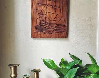 vintage wooden ship / vintage ship picture / carved wood ship / vintage wood boat / vintage beach house / coastal decor /  nautical nursery