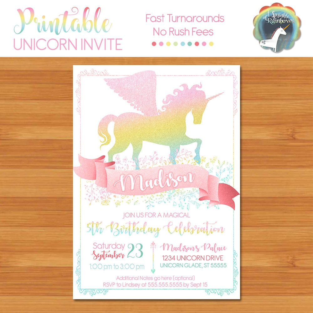 Unicorn Birthday Party Invitation Unicorn Birthday Invitation
