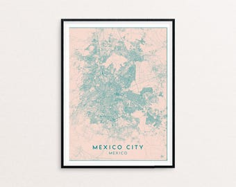 Mexico City Blush Pink City Map Print, Clean Contemporary poster fit for Ikea frame 50x70cm, gift art him her, Anniversary personalized