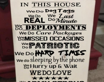 In this House military Army Navy Marines Air Force Coast Guard wooden sign