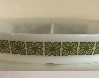 Vintage Pyrex Square Flower Divided Dish
