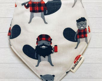 Stylish Lumberjack Beaver Baby Bib, Drool Bib, Bandana Bib, Reversible, Burly Beaver, Hipster Baby, Absorbent Cotton and Flannel Bib,