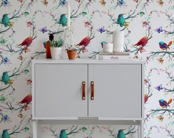 Vintage birds wallpaper, Watercolor birds wall mural, Peel and Stick Wallpaper, Removable Wallpaper, Wall Paper Removable, Wallpaper - A061