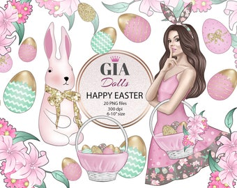 Easter clipart, spring clipart, eggs clipart, easter bunny clipart, giadolls