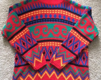 80s vintage one-on-a-kind vibrant cool patterned oversized mock-neck pullover red sweater