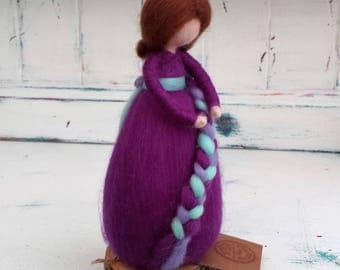 Needle Felted Fairy, Waldorf Inspired, Figure, Purple figure, Angel, Ornament, Felted Fairytail Doll, Faerie, Fairie, Figurine