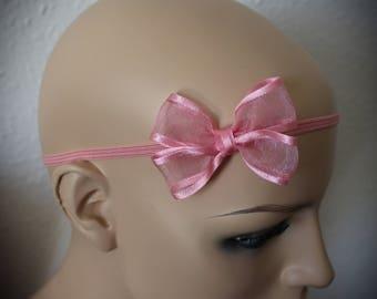 Handmade Pink Organza Hair Bow Headband baby, toddler, kids, adults