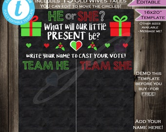 Christmas Present Gender Reveal Party Chalkboard- Cast your Vote Team He or She- Holiday Mistletoe Matching- Printable INSTANT Self-EDITABLE