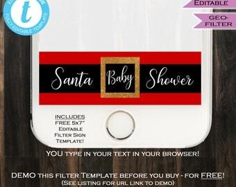 Santa Baby Shower Snapchat Geofilter Christmas Baby shower Filter Snow Girl Boy Neutral Party Personal Custom Digital INSTANT Self EDITABLE