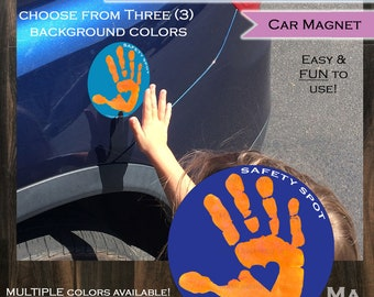 Safety Spot Kids Hand Car Magnet/ Toddler Child Handprint Car Safety/ Kids Car Safety Parking Lot Safety Handprint Safe Spot to Stand ORANGE