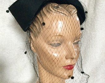 "1940s Black Veiled Hat by ""Monte Rey"""
