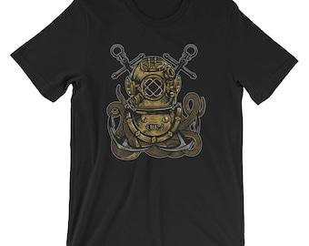 Cross Anchors Old School Deep Sea Diver Short-Sleeve Unisex T-Shirt