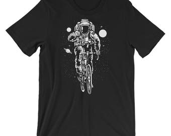 Cyclist Astronaut Riding Through Space Short-Sleeve Unisex T-Shirt
