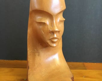1963 vintage hand carved wooden woman - sculpture - carving