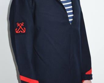 Genuine 1972 french navy vintage woolen Top/jacket/Blouse / tunic genuine French Navy in wool/1970's vintage / Medium