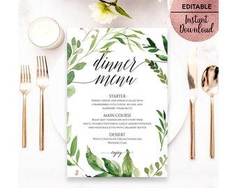 Green Leaves Wedding Dinner Menu Template, Printable 5x7 Script Font Wedding Menu Paper Template, Editable PDF file, Digital Download