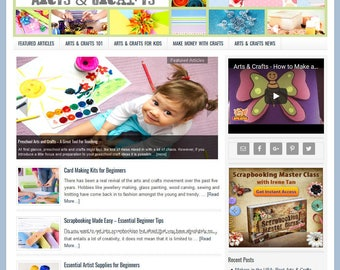 Premade WordPress Website Template & Blog with Articles, Videos, Shopping, News, and Automatically Updating Content- ARTS and CRAFTS theme