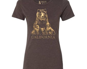 California Grizzly Bear T-Shirt, Mama Bear Tee, Gift for Mom