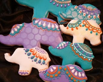 Bohemian Elephant Cookies - 6 large and 6 small