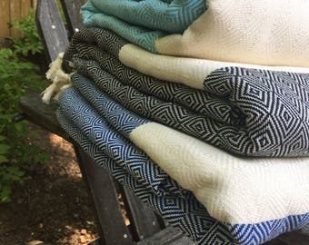 100% Turkish Cotton Blankets/Throws (I have 1 pink, 1 turquoise, 5 black, 1 navy blue)