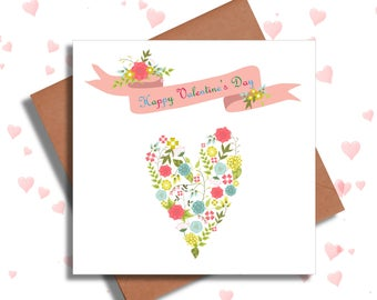 Pretty Floral Valentine's Card, St Valentines Day Cards, Love Cards