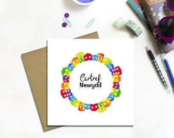 Welsh New Home Card, Cardiau Cartref Newydd, Welsh Language Cards