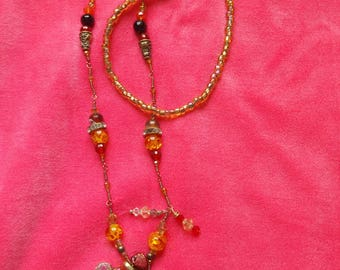 Golden Upside Down Necklace (Carnelian, Pearls, Baltic Amber, Agates)