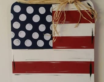 Wood Door Hanger Mason Jar American Flag Stars and Stripes Red White and Blue Patriotic Memorial Veterans Day 4th of July
