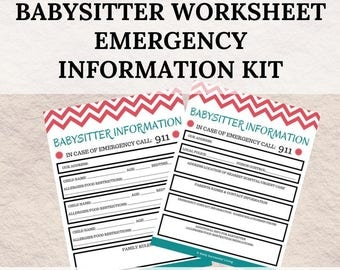 Babysitter Emergency Guide and Information Kit; Babysitter Notes; Babysitter Emergency Kit; Babysitter Info Sheets