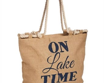 Large Burlap Tote Bag Carry All On Lake Time Tan