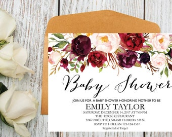 Floral Baby Shower Invitation, It's a Girl Shower Invite, Bridal Shower Card, Floral Baby Shower, Boho Girl Baby Invite, Instant Download B3