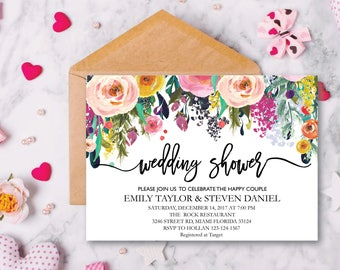 Wedding Shower Invitation, Fall Floral Bridal Shower Card, Couples Shower Invite, Fun wedding program, Instant Download, Decor, Signs, WS 11