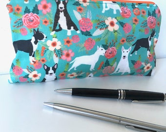English Bull Terrier pencil case. Bull Terrier. Accessories case. Dog gift.