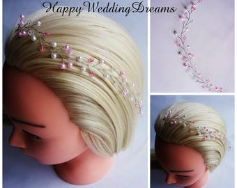 Bridal headpiece with lt pink pearl beads and Swarovski crystals/Bridal pearl tiara/Wedding hair vine/Pearl hair vine/9 colours available