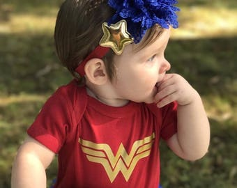 Pre order Wonder Woman Baby Outfit-Red Bodysuit ,Baby Girl royal blue Bloomer,Headband & Sandals.wonder Woman halloween costume.