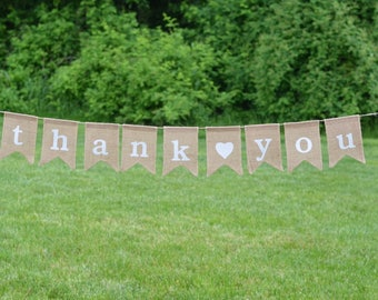 Thank You Burlap Banner, Sign, Bunting
