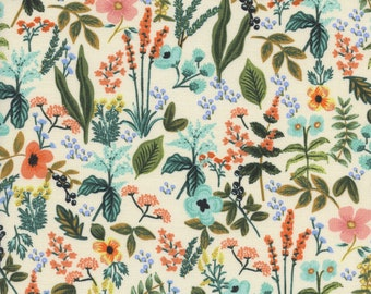 PRE-ORDER Cotton + Steel Amalfi by Rifle Paper Co, Herb Garden in Natural, Floral Fabric, Unbleached Fabric, Italy Fabric, 8044-01