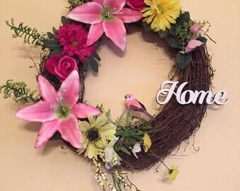 Spring Wreath, Summer Wreath, Pink Wreath, Lily Wreath, Pink Wreath, Home Wreath, Everyday Wreath, Grapevine Wreath