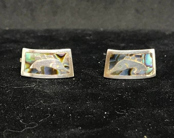Vintage Taxco Sterling Silver and Abalone Shell Marlin Screw Back Earrings MARKED