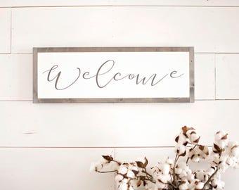 welcome sign, wooden welcome sign, wood welcome sign, farmhouse welcome sign, framed welcome sign